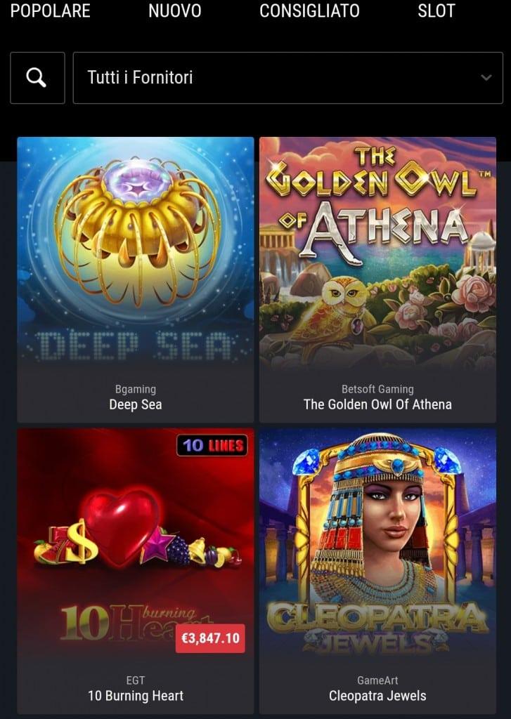 Giochi mobile Cobra Casino