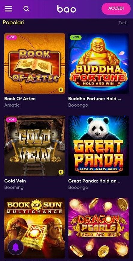 Giochi mobile BaoCasino