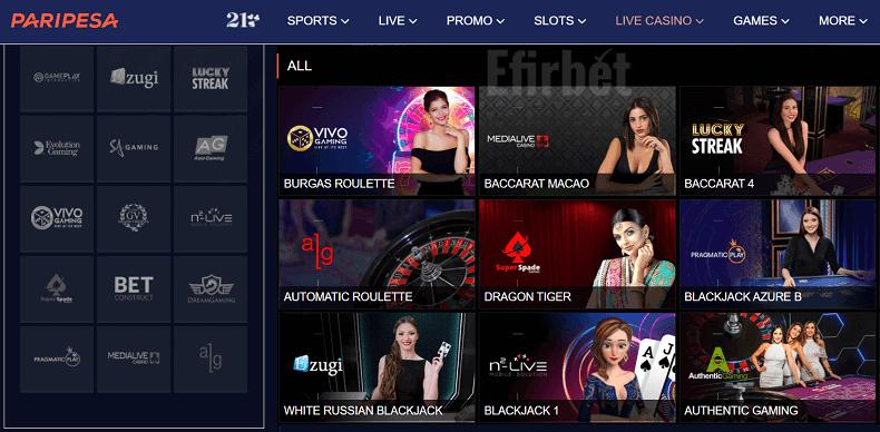 paripesa live casino